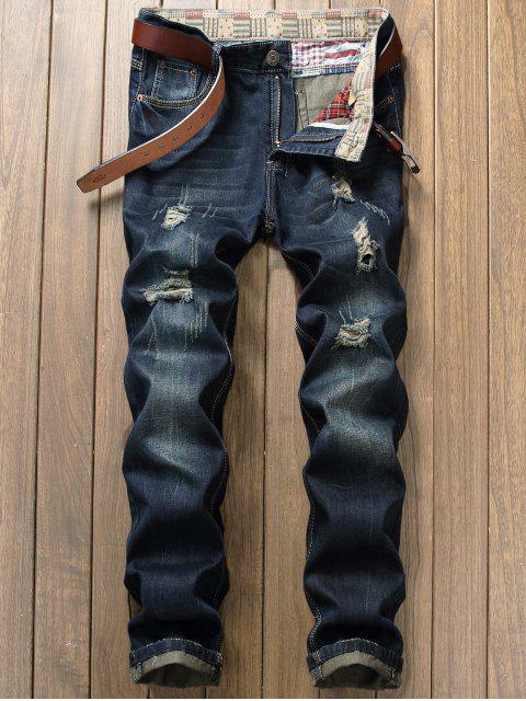 Zip Fly Distressed Cuffed Jeans - Denim Blau 34 Mobile