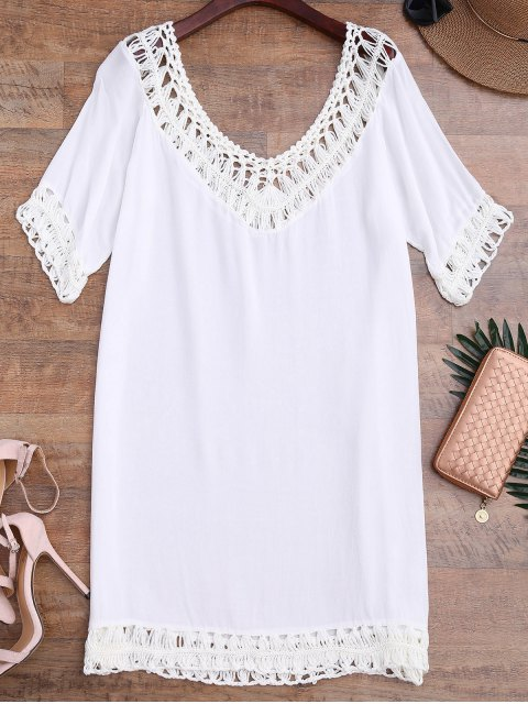 Relaxed Fit Beach Cover Up Vestido - Blanco Talla única Mobile
