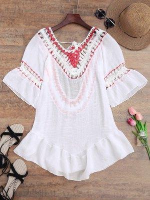 Crochet Open Back Beach Cubrir Vestido - Blanco