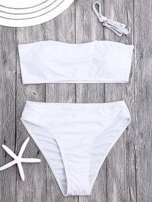 Traje De Bikini De Bandeau Escotado Con Relleno - Blanco S