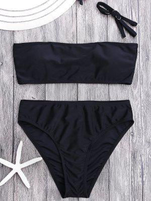 Padded High Cut Bandeau Bikini Set - Black M