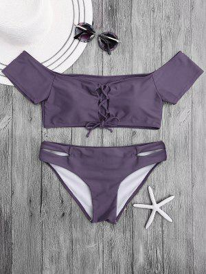 Lacing Off El Conjunto De Bikini Hombro - Púrpura L
