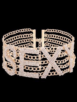 Collar Atractivo De La Aleación Del Rhinestone - Dorado