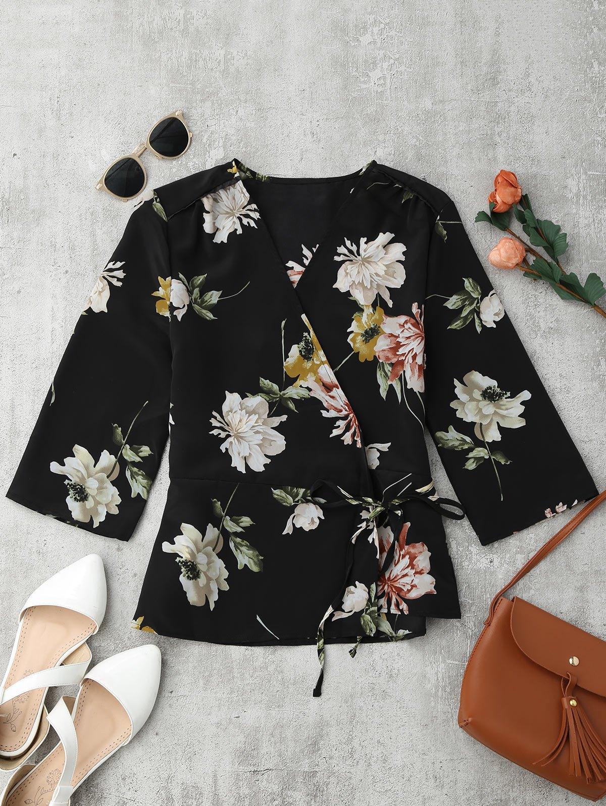 Blumen gewickte Kimono Bluse