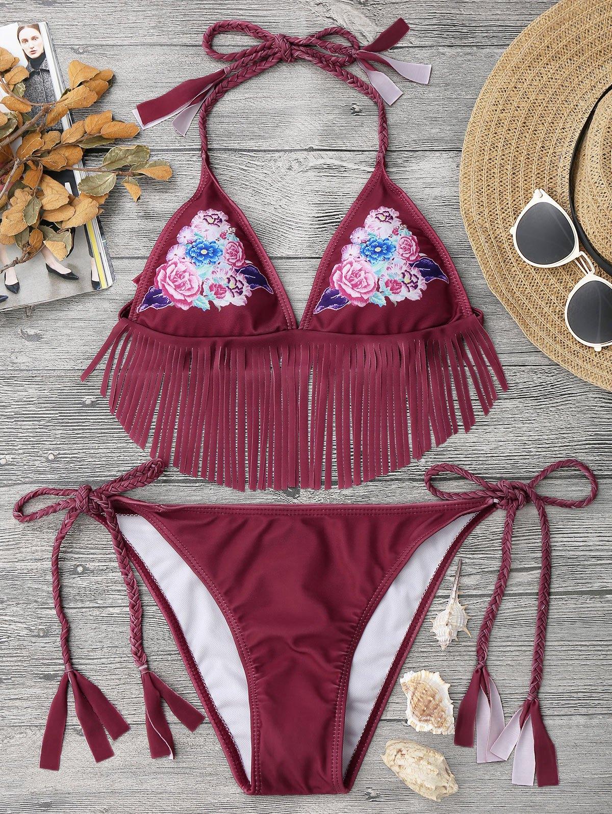 Ensemble de bikini à cordes frangées et à fleurs tranchées