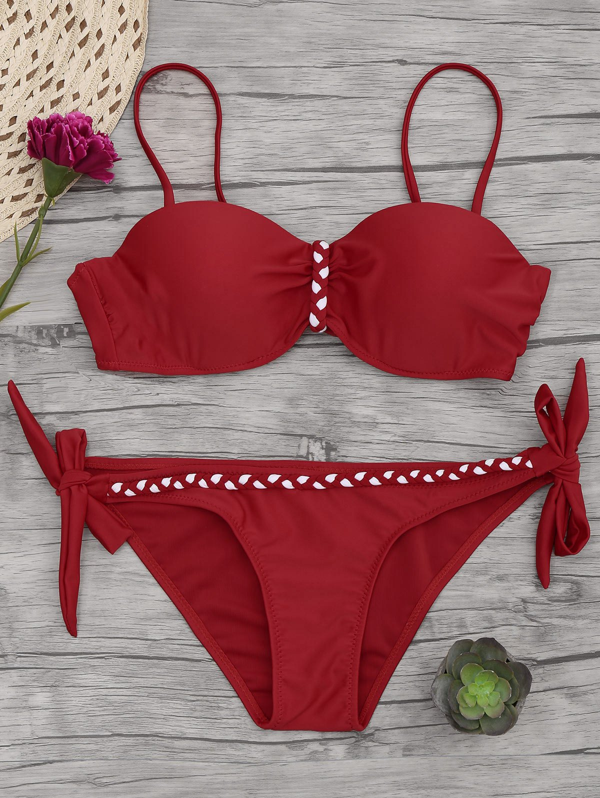Underwire Braided Molded Cup Bikini Set 213632903