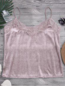 Lace Velvet Camisole Lounge Top - Pink S