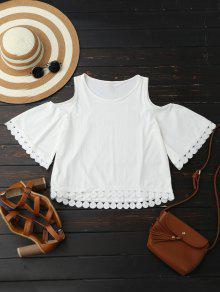 Buy Lace Trim Cold Shoulder Blouse - WHITE L