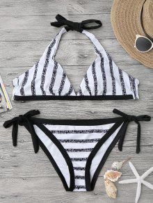 Conjunto De Bikini De Corte Alto Con Rayas Halter - Blanco Y Negro L