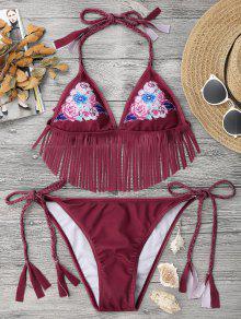 Conjunto De Bikini Trenzado Floral Con Flecos - Rojo S
