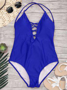 Slimming Lacing One Piece Swimsuit - Sapphire Blue L