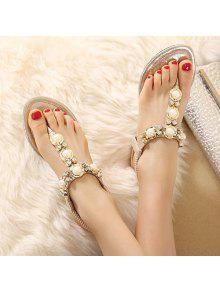e750e7bafaac 27% OFF  2019 Faux Pearls Rhinestones Elastic Sandals In GOLDEN