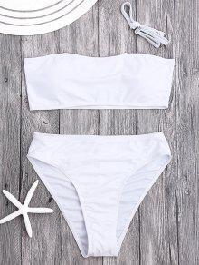 Padded High Cut Bandeau Bikini Set - White S