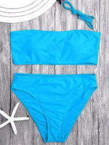 Padded High Cut Bandeau Bikini Set - Lake Blue M