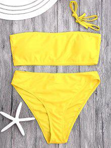 Gepolsterter High Cut Bandeau Bikini Set - Gelb L