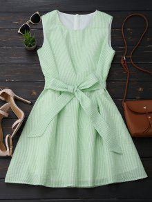 Sleeveless Striped Bowknot Dress - White And Green L