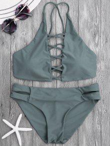 Tie Back Crisscross Strappy Bikini Set - Slategray M