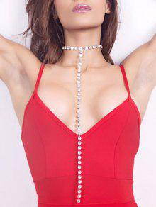 Rhinestoned Alloy Long Chain Necklace - Silver