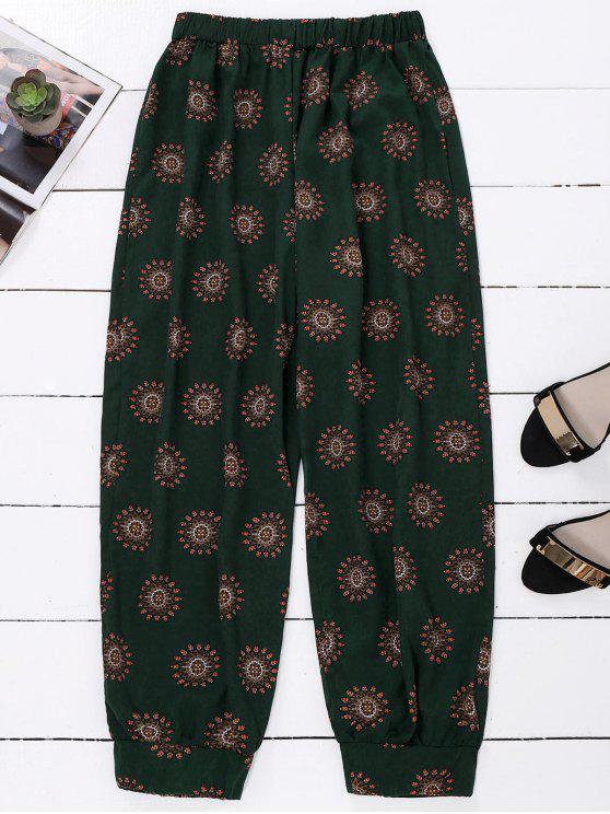 fashion Print Harem Holiday Pants - BLACKISH GREEN ONE SIZE