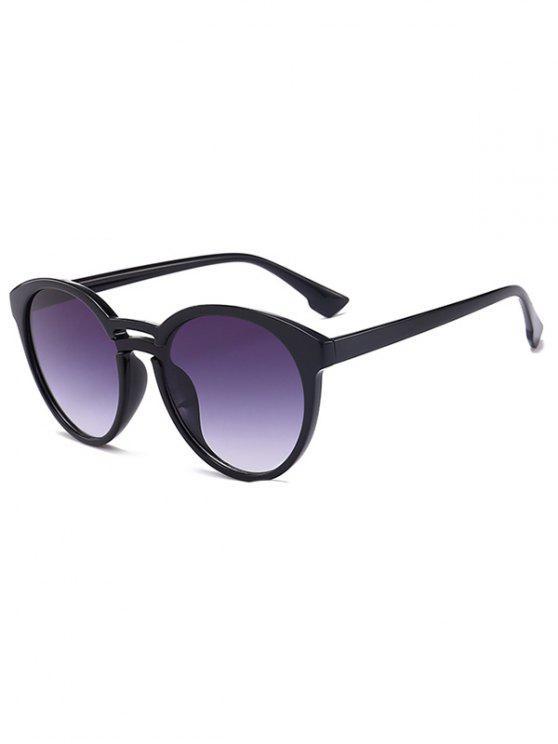 women Anti UV Retro Double Crossbar Sunglasses - BLACK FRAME+GREY LENS