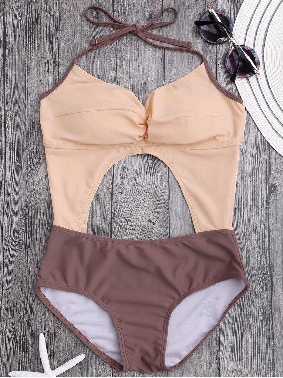 lady Cut Out Color Block Ruched Swimwear - PINKBEIGE S
