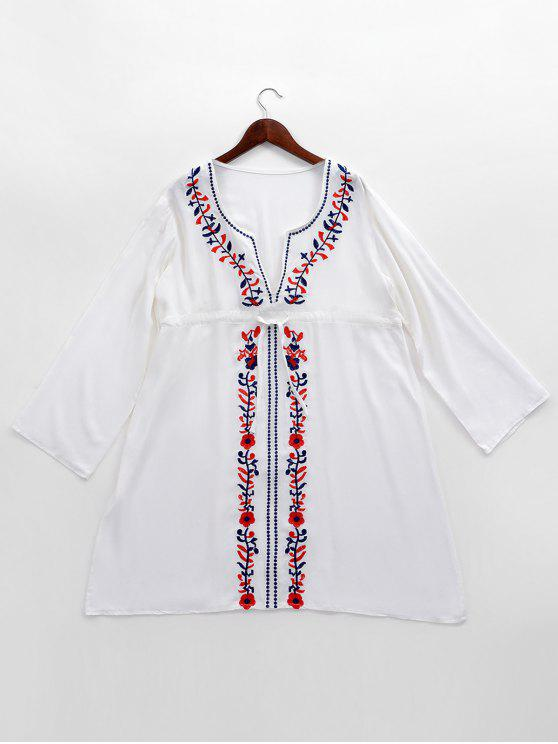 womens Embroidered Beach Cover Up Smock Dress - WHITE ONE SIZE