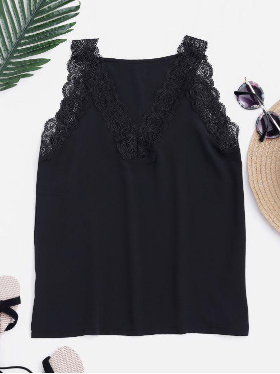 shops Fitting V Neck Lace Insert Tank Top - BLACK L