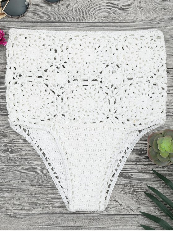 Crochet High Waisted Bikini Bottoms White Bikinis One Size Zaful