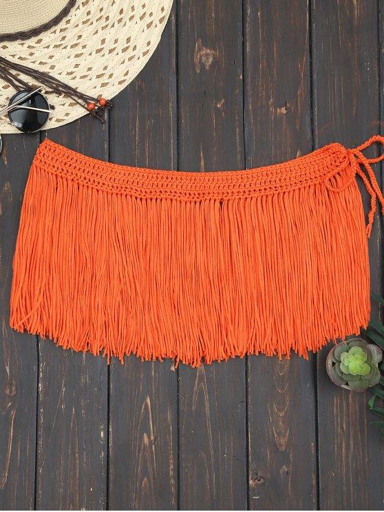 Boho Fringe Beach Cubrir Falda - rojo, naranja, Única Talla