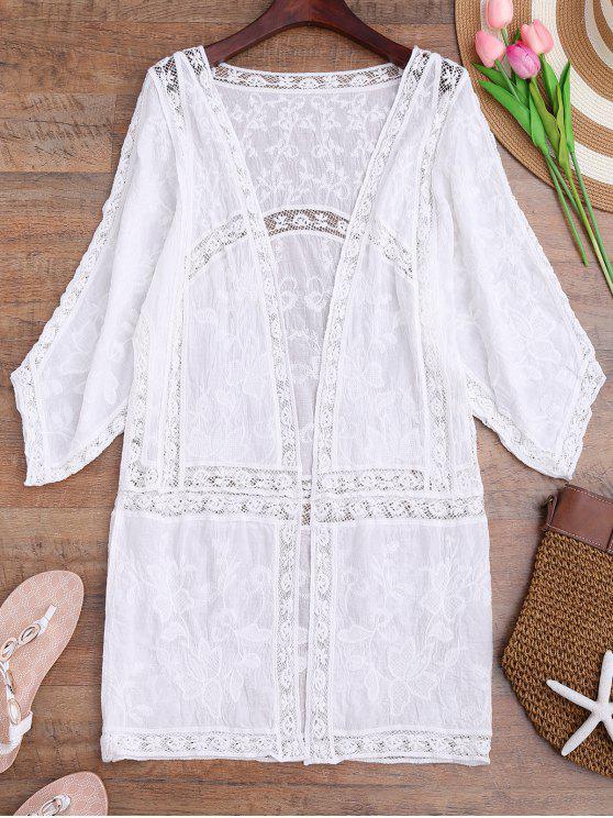 sale Crochet Embroidered Longline Kimono Cover Up - WHITE ONE SIZE