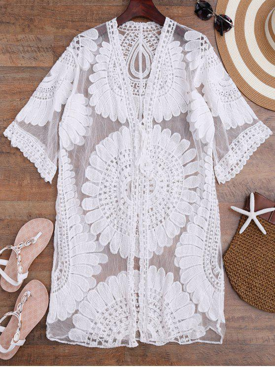affordable Crochet Flower Kimono Longline Cover Up - WHITE ONE SIZE