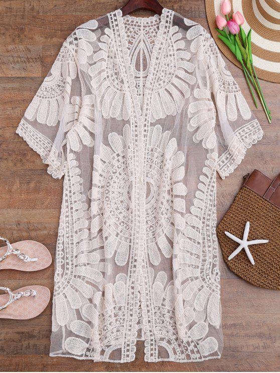 buy Crochet Flower Kimono Longline Cover Up - OFF-WHITE ONE SIZE