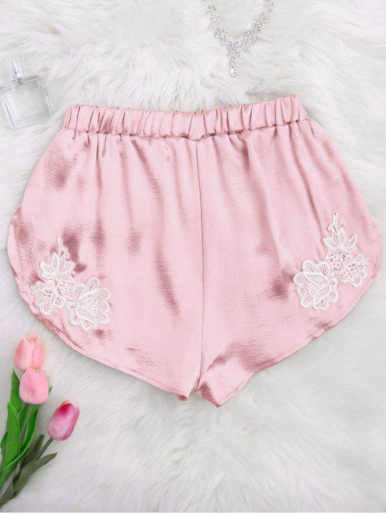 Satin Avec Style De En Sommeil Décoration L DauphinRose Shorts Pâle mnwNv80