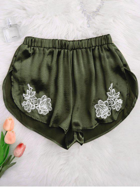 Pantaloncini Da Notte In Raso Con Applicazioni - Verde Dell'esercito M