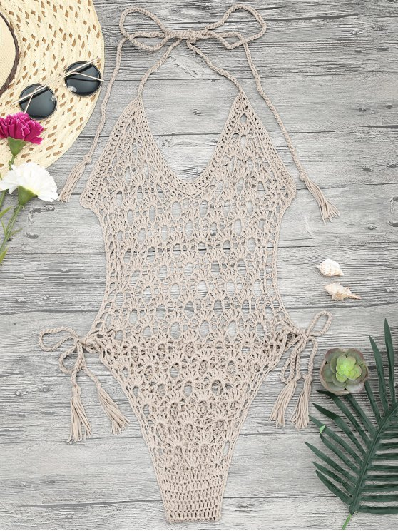 unique Crochet Monokini One Piece Swimsuit - KHAKI ONE SIZE