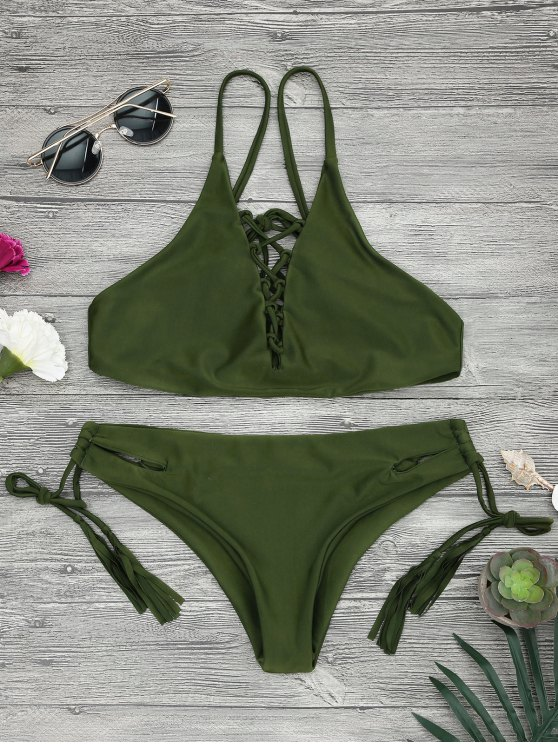 shop Low Waisted Lace Up Bikini Top and Bottoms - ARMY GREEN M