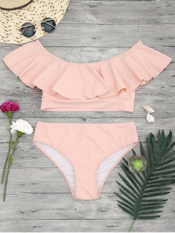 fancy Ruffle Off The Shoulder Bikini Set - ORANGEPINK S