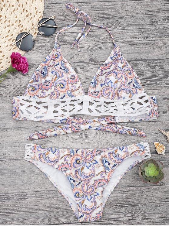 sale Floral Print Midi Bikini Top and Bottoms - WHITE M