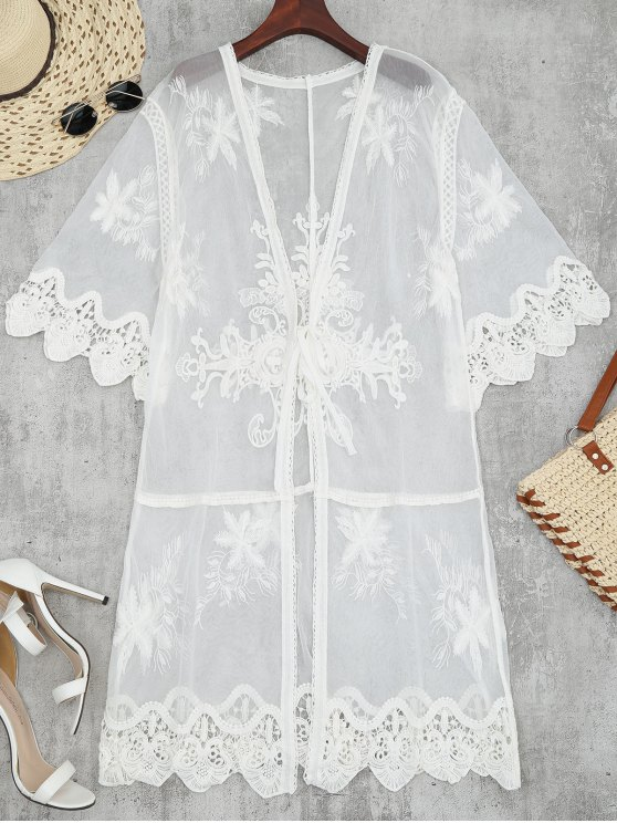 best Sheer Tulle Beach Kimono Cover Up - WHITE ONE SIZE