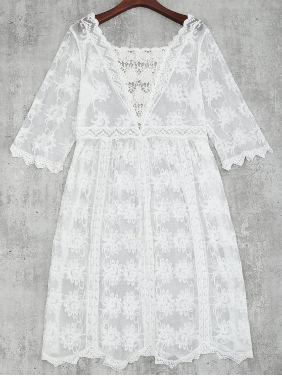 new Crochet Lace Beach Cover Up Dress - WHITE ONE SIZE