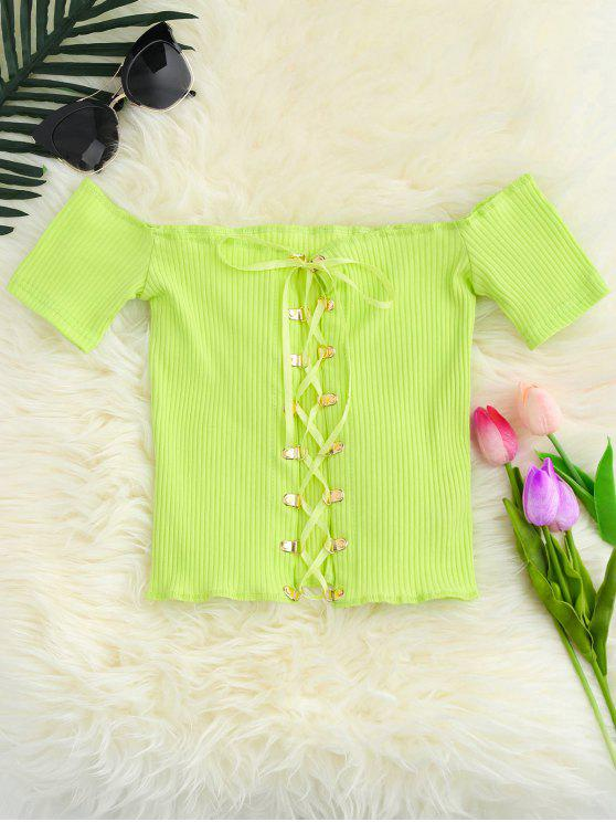 fancy Lace Up Off The Shoulder Cropped Top - YELLOW GREEN ONE SIZE