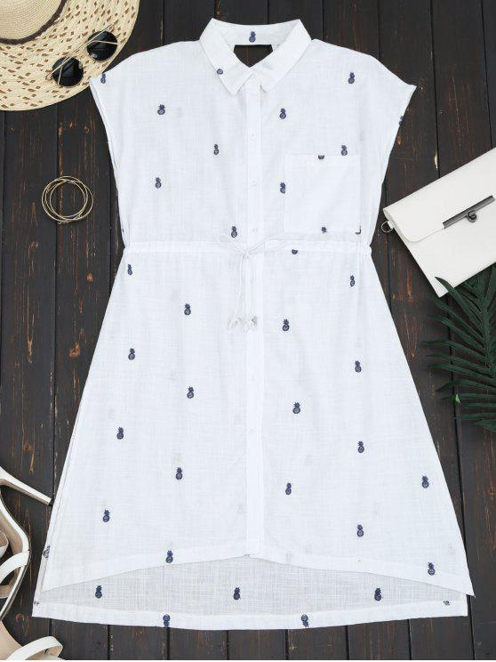 lady Belted Pineapple Embroidered Shirt Dress - WHITE M