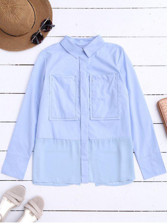 fashion Printed Back Slit Shirt with Pockets - LIGHT BLUE M