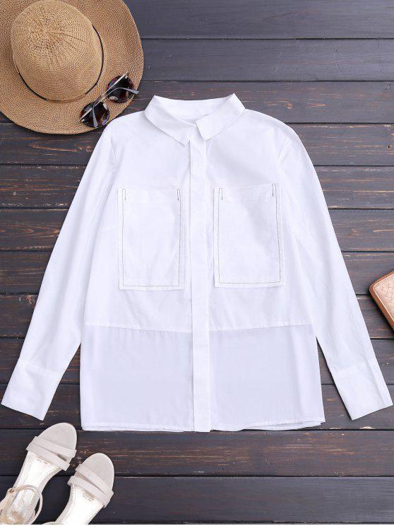 Chemise à rayures imprimées avec poches - Blanc S