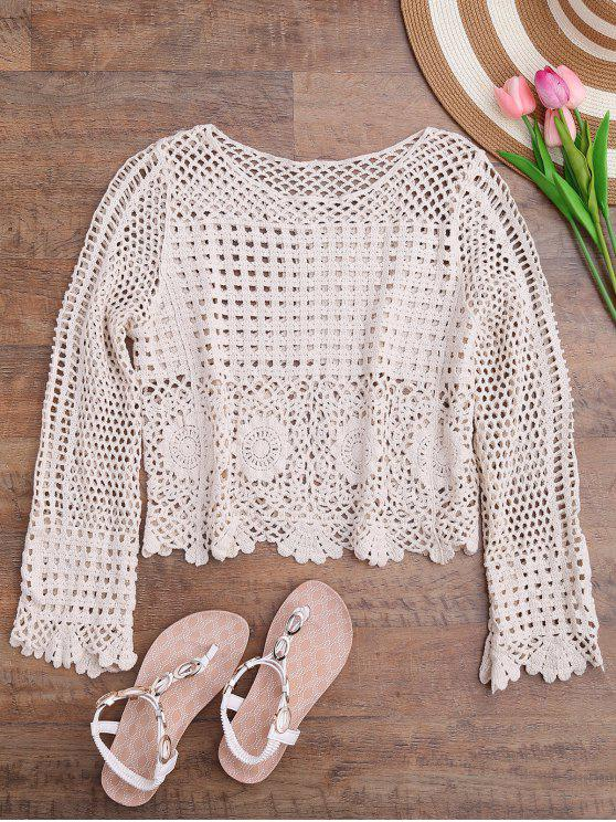 hot Long Sleeve Laser Cut Out Crochet Cover Up - OFF-WHITE ONE SIZE