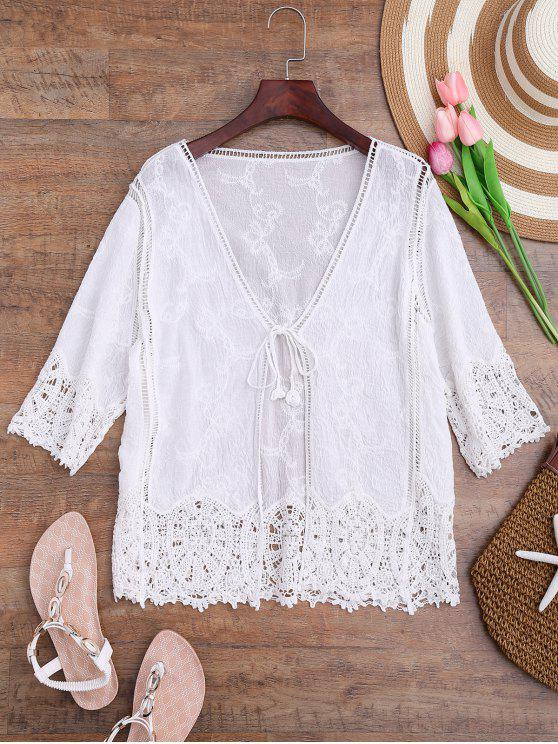 latest Crochet Panel Bohemian Front Tie Cover Up - WHITE ONE SIZE