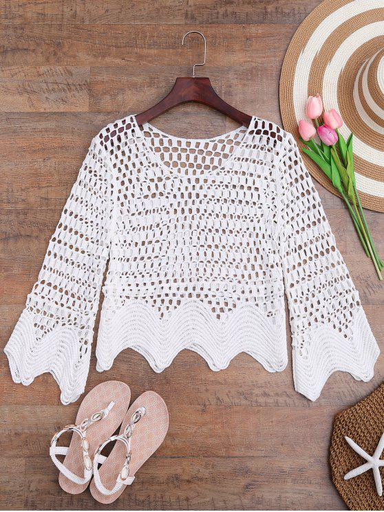 fashion Scalloped Hem Crochet Laser Cut Cover Up - WHITE ONE SIZE