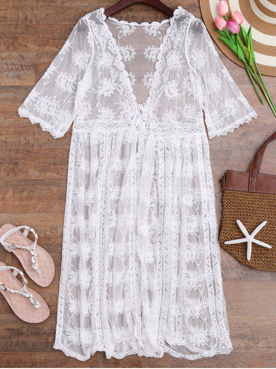 fancy Tied Crochet Kimono Longline Cover Up - WHITE ONE SIZE