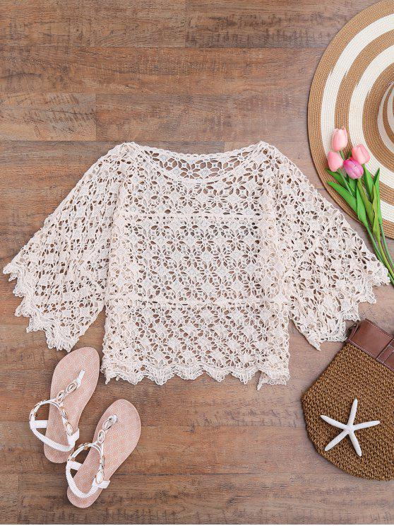 Cover Up ajouré bohémien en crochet - Blanc Cassé Taille Unique