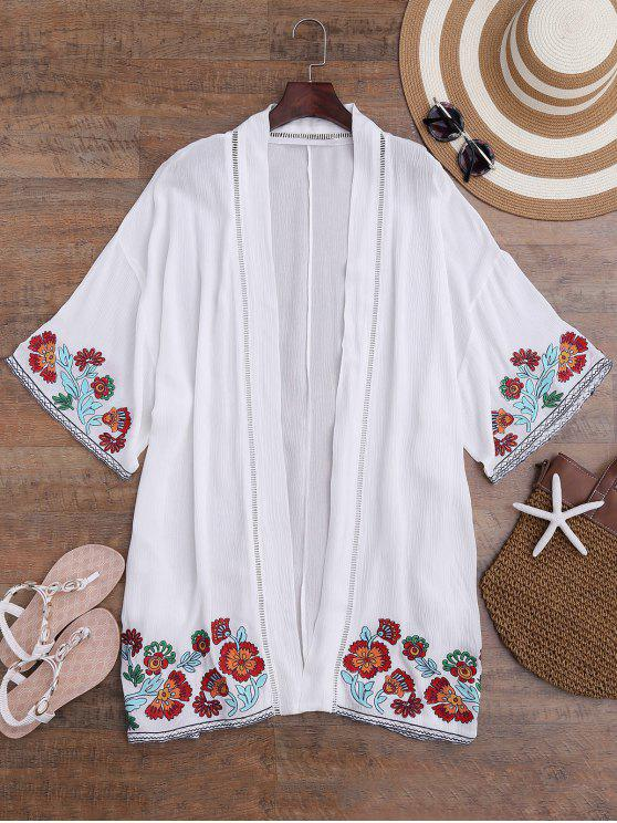 women Floral Embroidered Kimono Longline Cover Up - WHITE M